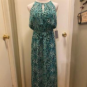 Teal Leopard Print Maxi Dress
